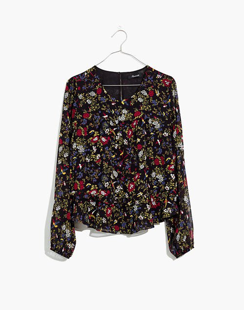 Sheer-Sleeve Ruffle Peplum Top in Finch Floral