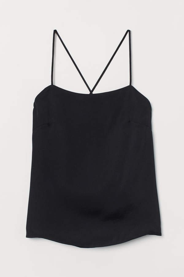 Sleeveless Satin Top - Black