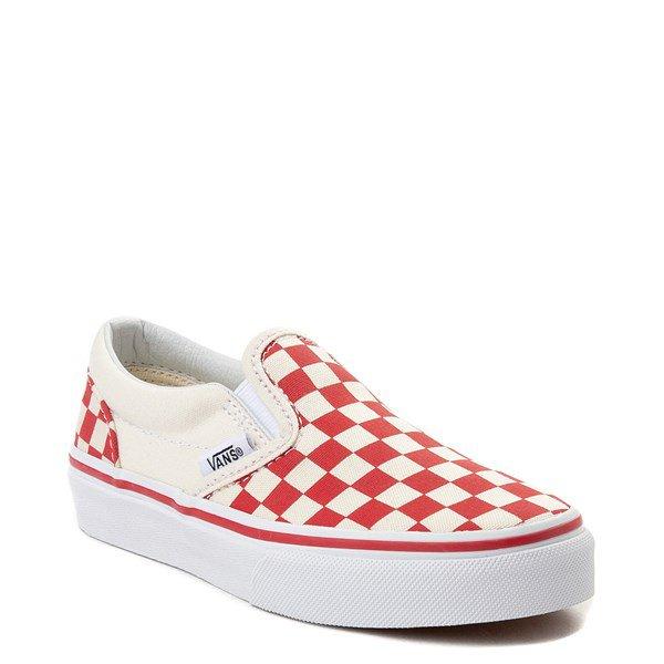 Vans Slip On Checkerboard Skate Shoe - Little Kid / Big Kid - Racing Red   Journeys Kidz
