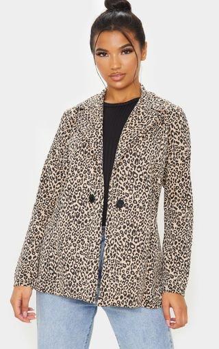 Brown Leopard Boyfriend Blazer | PrettyLittleThing