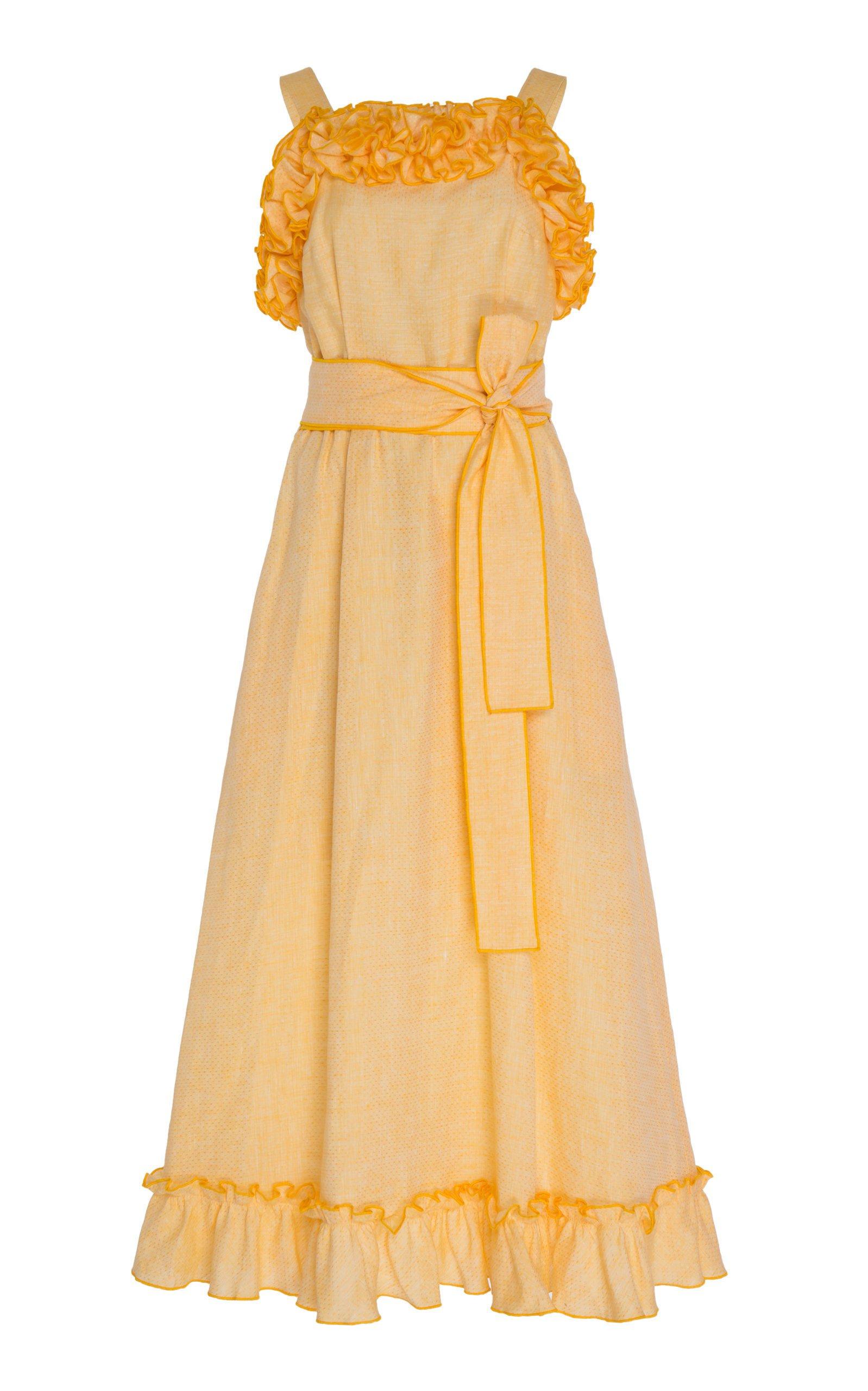 Gül Hürgel Ruffled Linen Belted Midi Dress Size: M