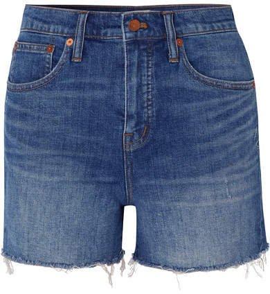 Distressed Denim Shorts - Mid denim