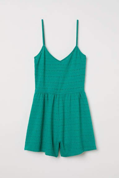 Eyelet Embroidered Jumpsuit - Green