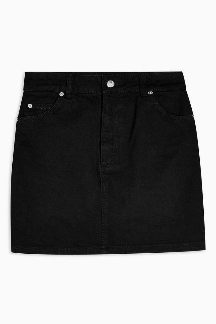 Black Denim Mini Skirt   Topshop