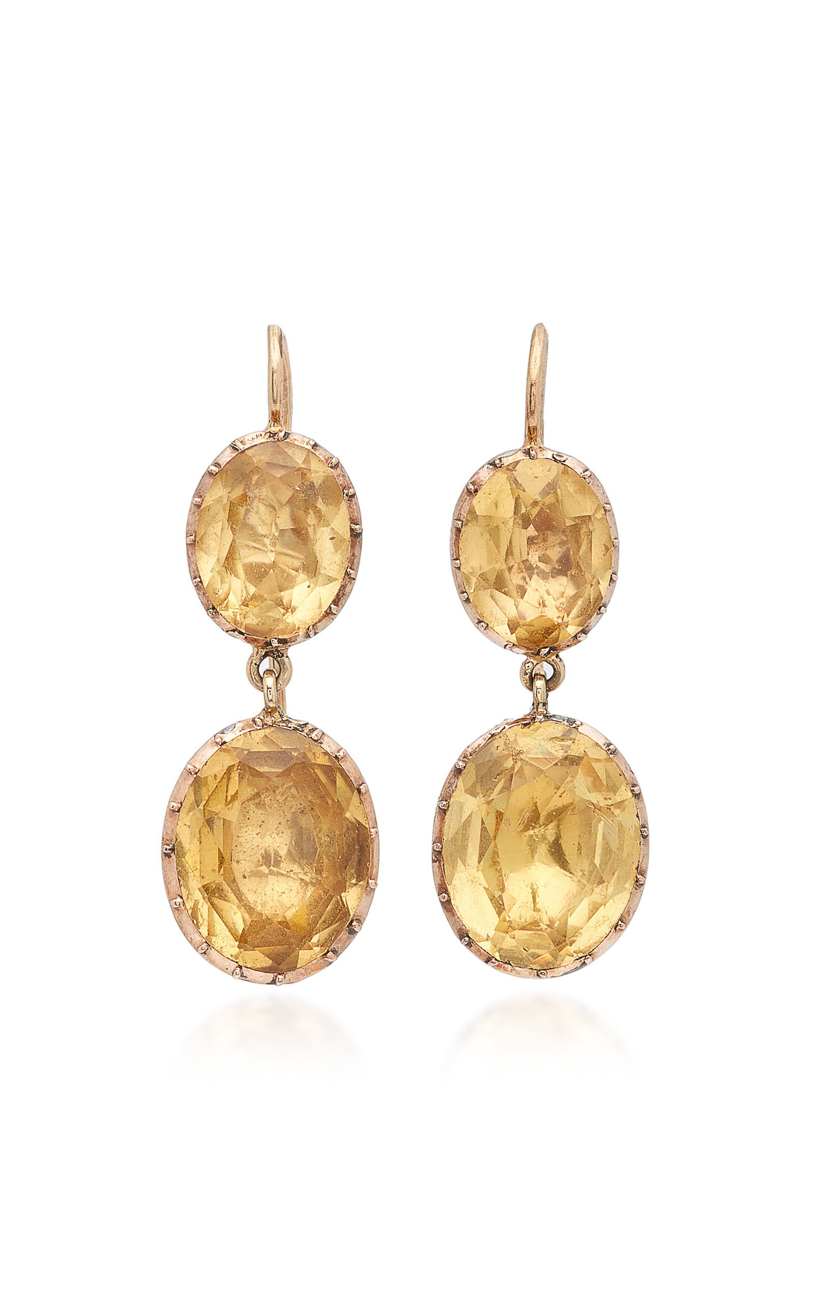 VELA 9K Gold Citrine-Glass Earrings