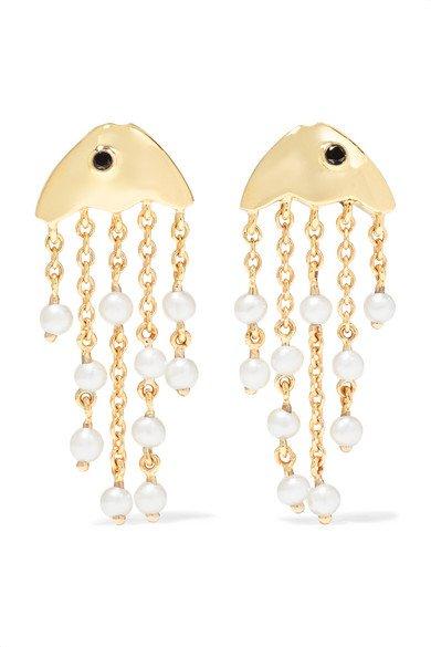 Yvonne Léon | 9-karat gold, pearl and diamond earrings | NET-A-PORTER.COM