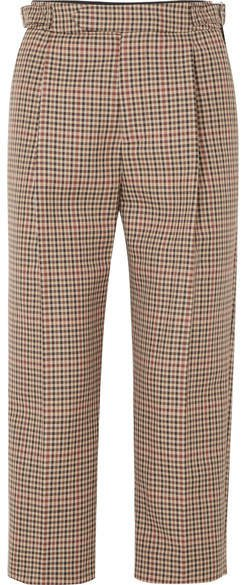 Cropped Pleated Checked Wool-blend Tapered Pants - Tan