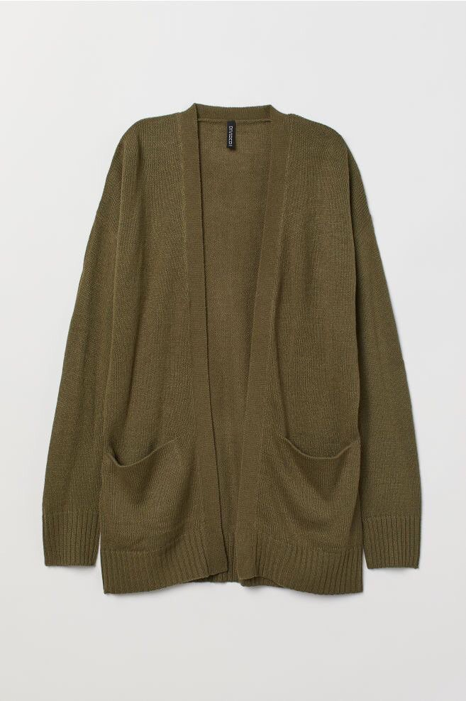 Knit Cardigan - Khaki Green | H&M