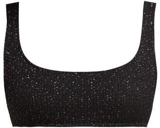 Rocky Glittered Tweed Effect Bikini Top - Womens - Black Multi