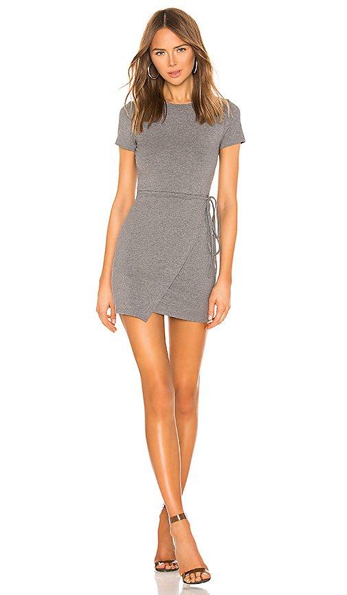 superdown Gwinne Jersey Wrap Dress in Dark Heather Grey | REVOLVE