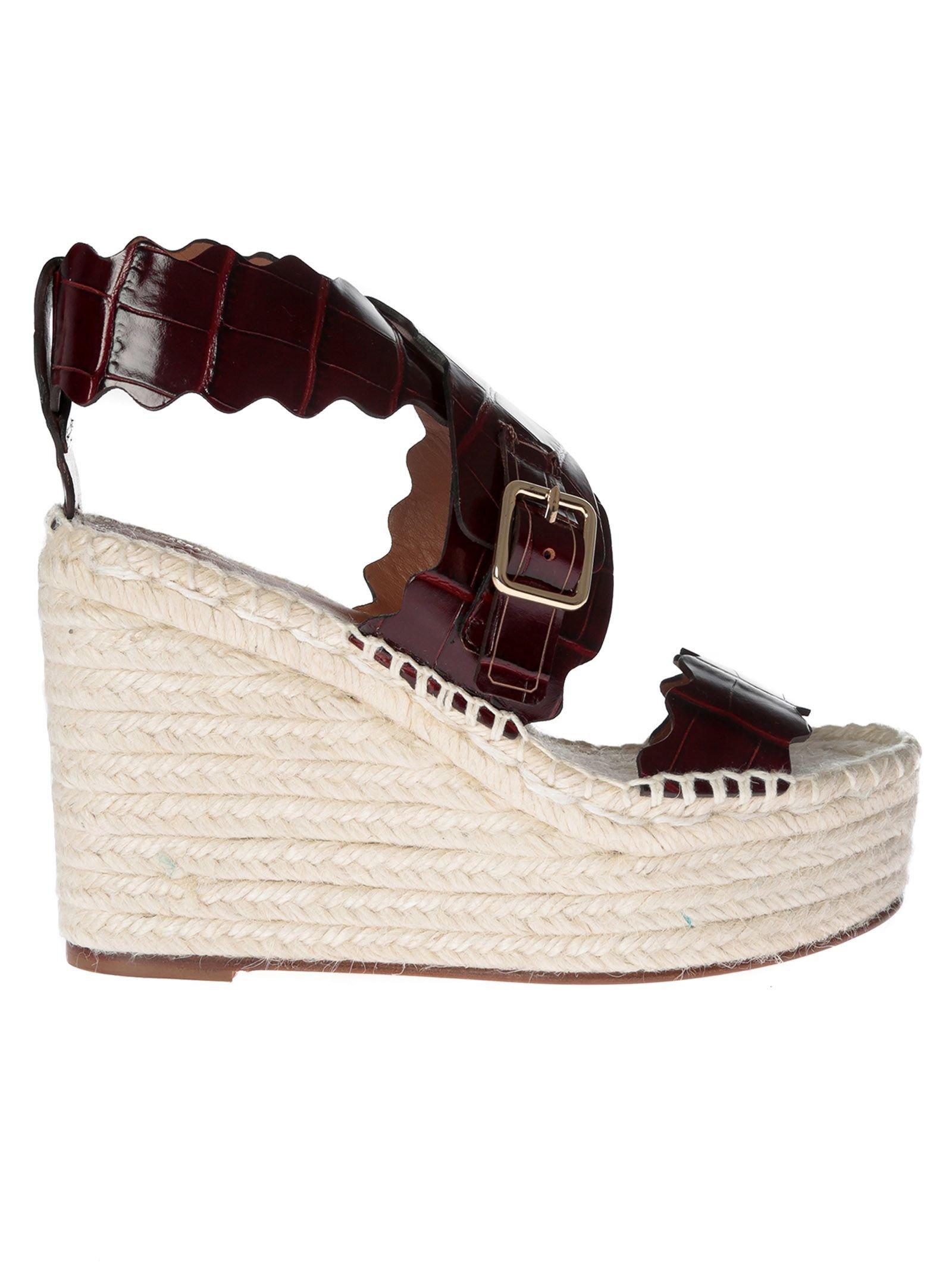 Chloé Embossed Wedge Sandals