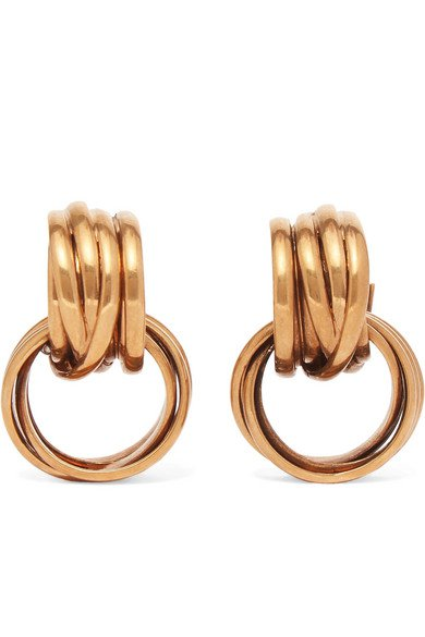 Balenciaga   Burnished gold-tone earrings   NET-A-PORTER.COM