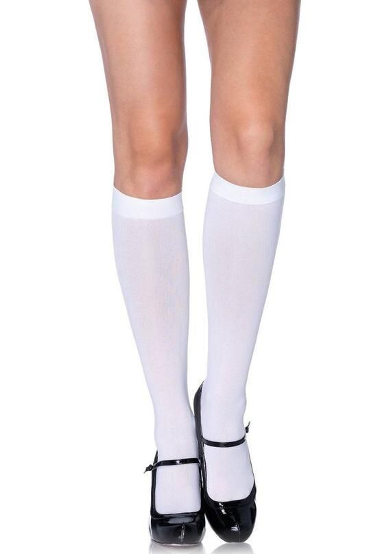 Sugarpuss WHITE Knee High SOCKS, Opaque Stockings