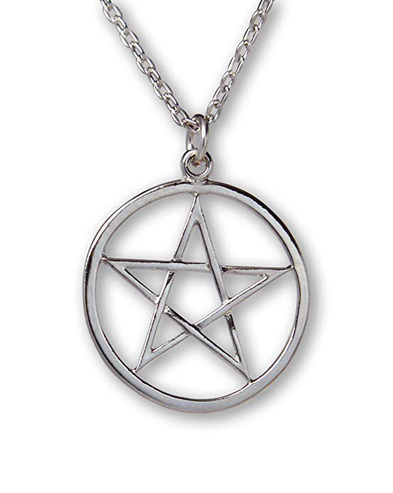 Amazon.com: Pentacle Polished Silver Finish Medieval Renaissance Pendant Necklace: Jewelry