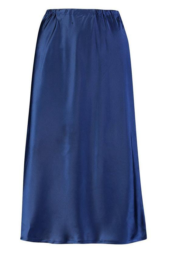 Satin Bias Cut Midi Skirt | Boohoo navy