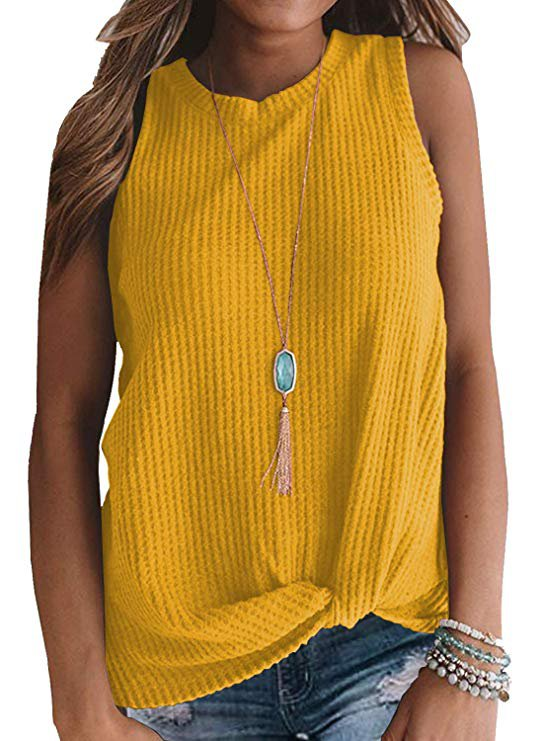MIHOLL Womens Casual Tops Sleeveless Cute Twist Knot Waffle Knit Shirts Tank Tops at Amazon Women's Clothing store