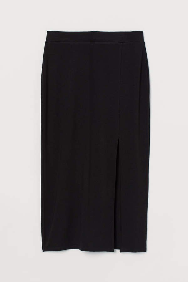 Jersey Skirt with Slit - Black