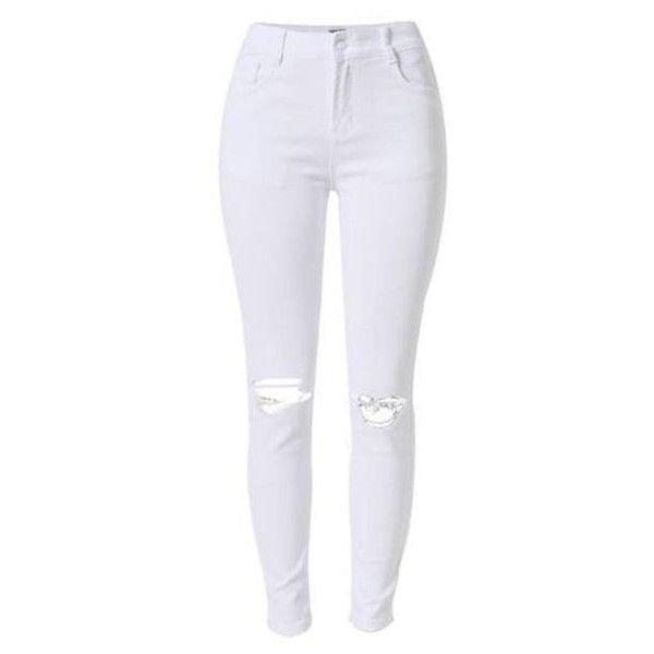 white rip skinny jeans