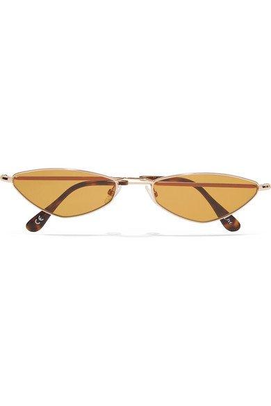 Andy Wolf | Eliza oval-frame gold-tone sunglasses | NET-A-PORTER.COM