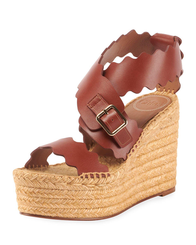 Chloe Lauren Scalloped Leather Wedge Espadrilles | Neiman Marcus