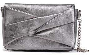 Pleated Metallic Textured-leather Shoulder Bag