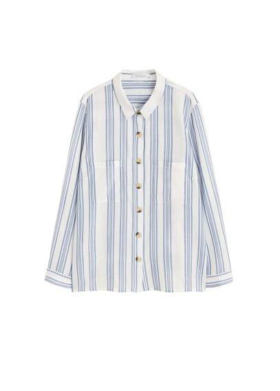 Violeta BY MANGO Fine-stripe cotton blouse