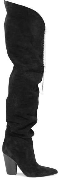 Denmark Embellished Suede Thigh Boots - Black
