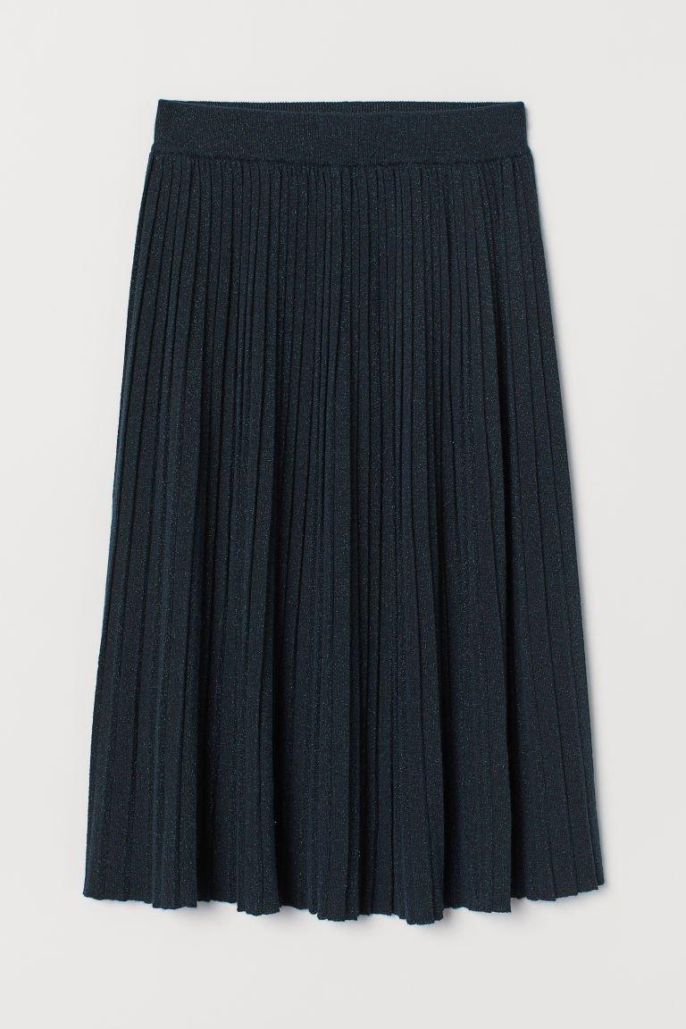 Glittery Fine-knit Skirt - Dark turquoise - Ladies   H&M US