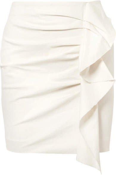 Lefly Ruffled Cotton-blend Mini Skirt - Ecru