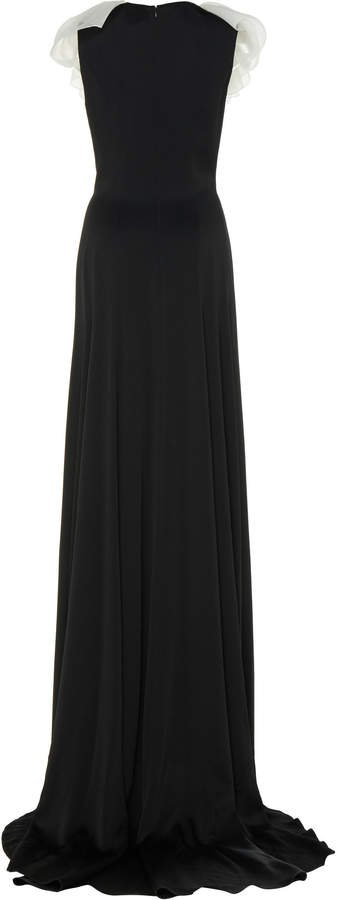 Felice Ruffled-Trimmed Crepe Gown