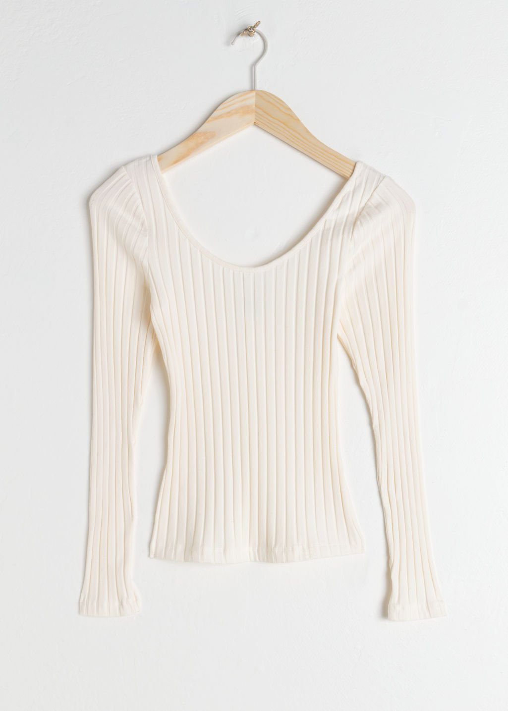Fitted Scoop Neck Cotton Top - White - Long Sleeve Tops - & Other Stories