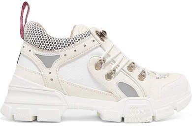 Flashtrek Logo-embossed Leather, Suede And Mesh Sneakers - White