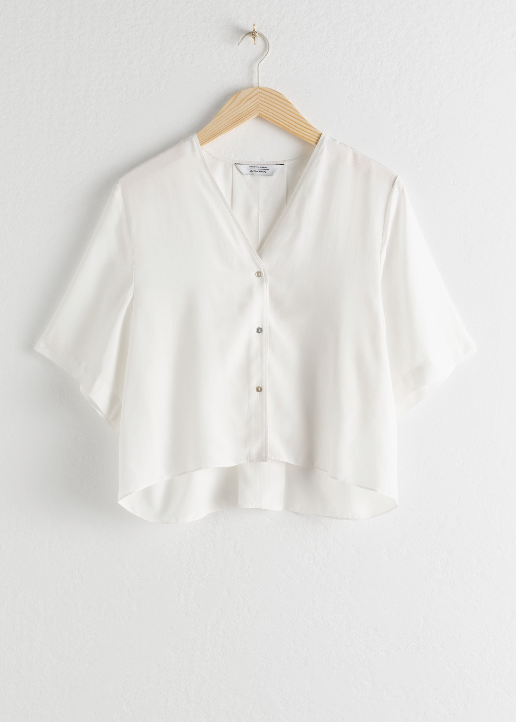 Boxy V-Cut Button Up Blouse - White - Blouses - & Other Stories