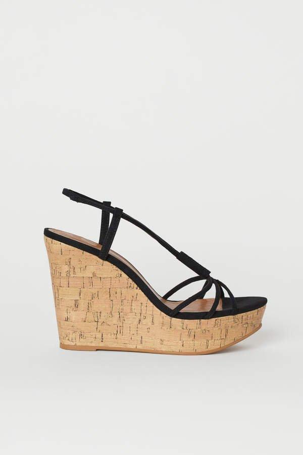 Wedge-heeled Sandals - Black