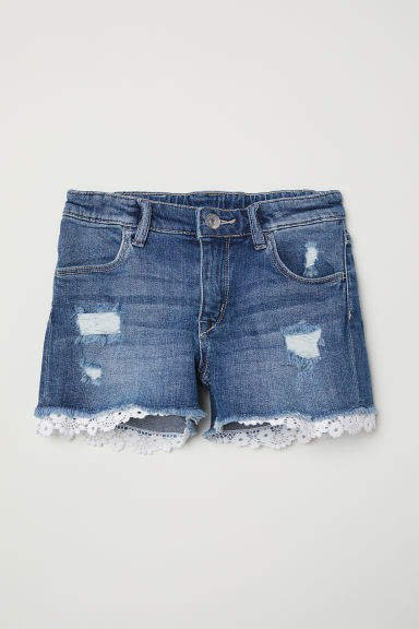 Lace-trimmed Denim Shorts - Blue