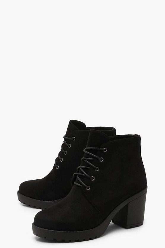 Lace Up Chunky Heel Hiker Boots | Boohoo