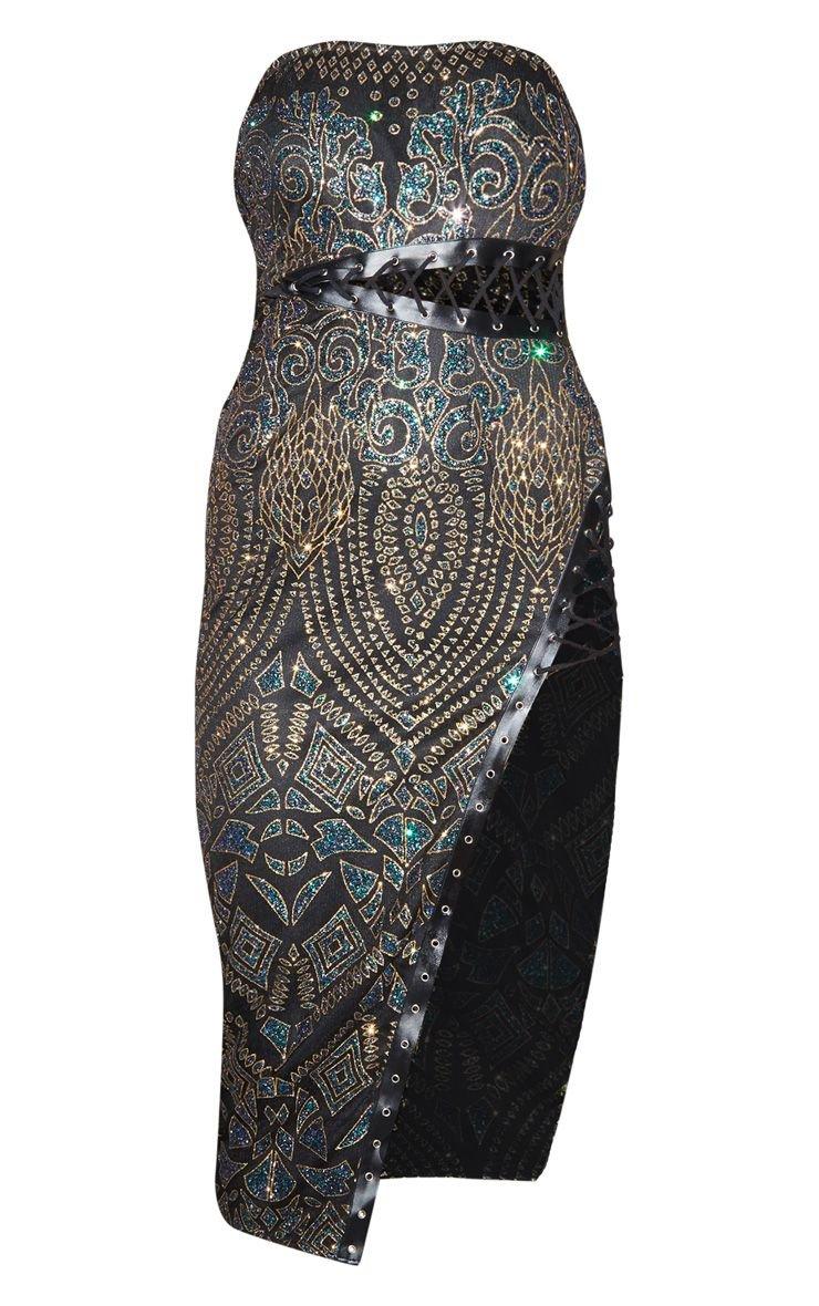 Black Glitter Lace Bandeau Midi Dress | PrettyLittleThing