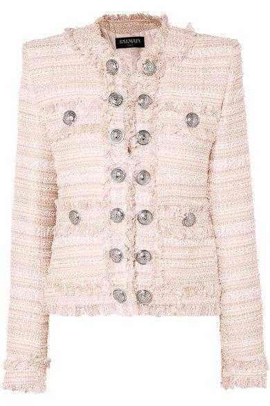 Balmain | Blazer en tweed à franges et à boutons | NET-A-PORTER.COM