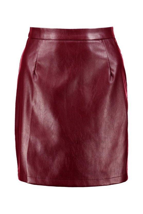 Leather Look A Line Mini Skirt   Boohoo