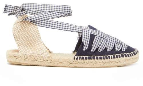 Jean Gingham Lace Canvas Espadrilles - Womens - Navy