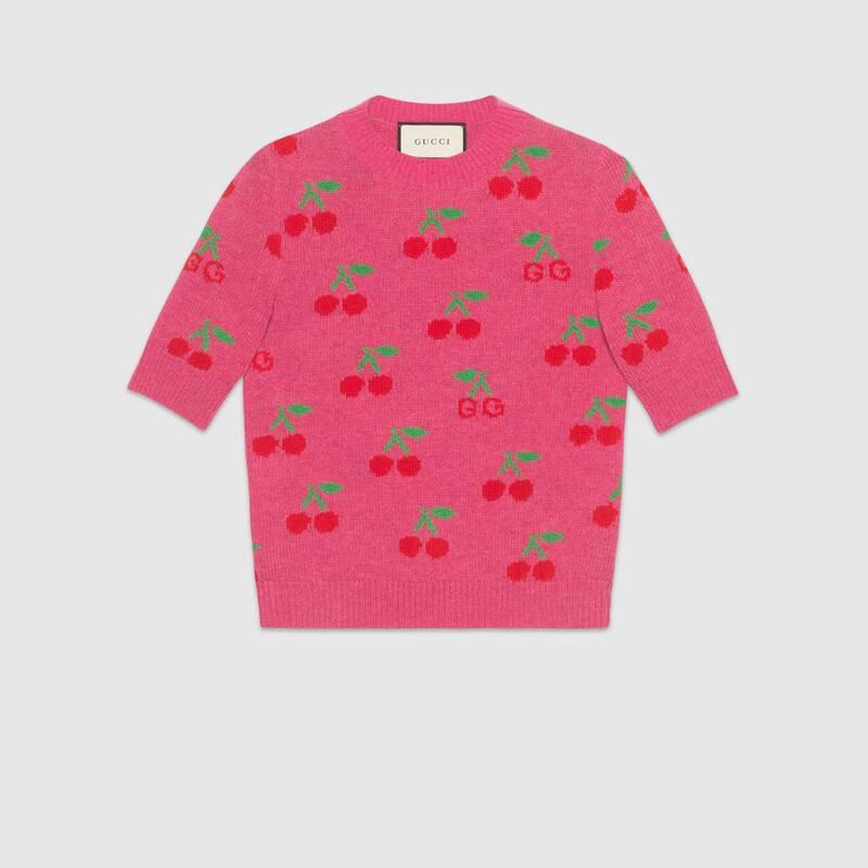 Pink RTW GG cherry jacquard wool knit top | GUCCI® US