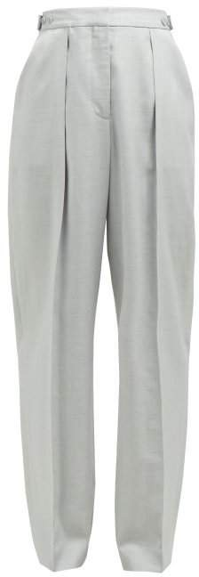 Tailored Straight Leg Trousers - Womens - Light Grey