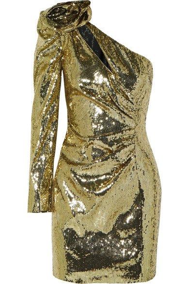 Dundas | One-shoulder sequined crepe mini dress | NET-A-PORTER.COM
