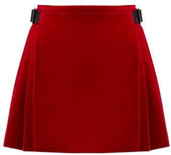 Crystal Embellished Cotton Blend Velvet Skirt - Womens - Red