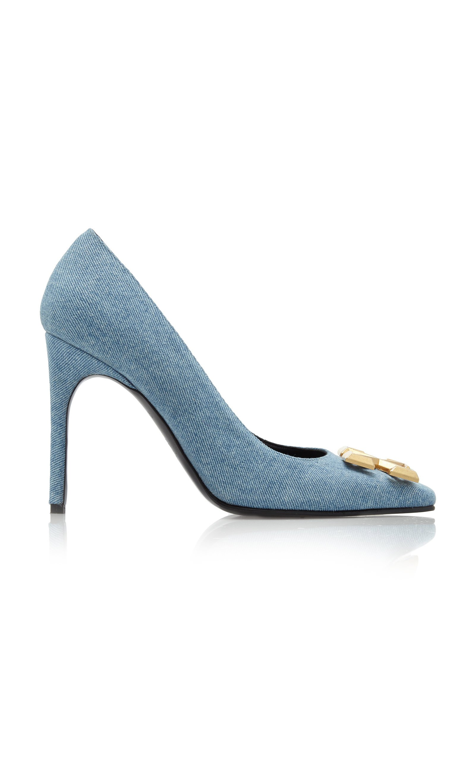 Arrow-Embellished Denim Pumps by Off-White c/o Virgil Abloh | Moda Operandi