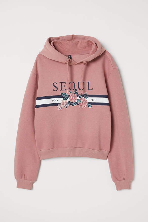 Printed Hooded Sweatshirt - Pink