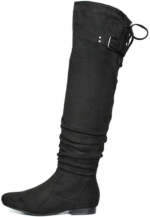 Amazon.com | DREAM PAIRS Women's Fashion Casual Over The Knee Pull on Slouchy Boots | Over-the-Knee