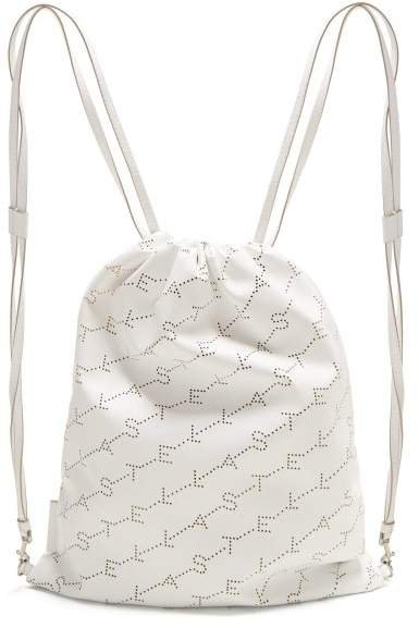 Logo Pattern Faux Leather Drawstring Backpack - Womens - White