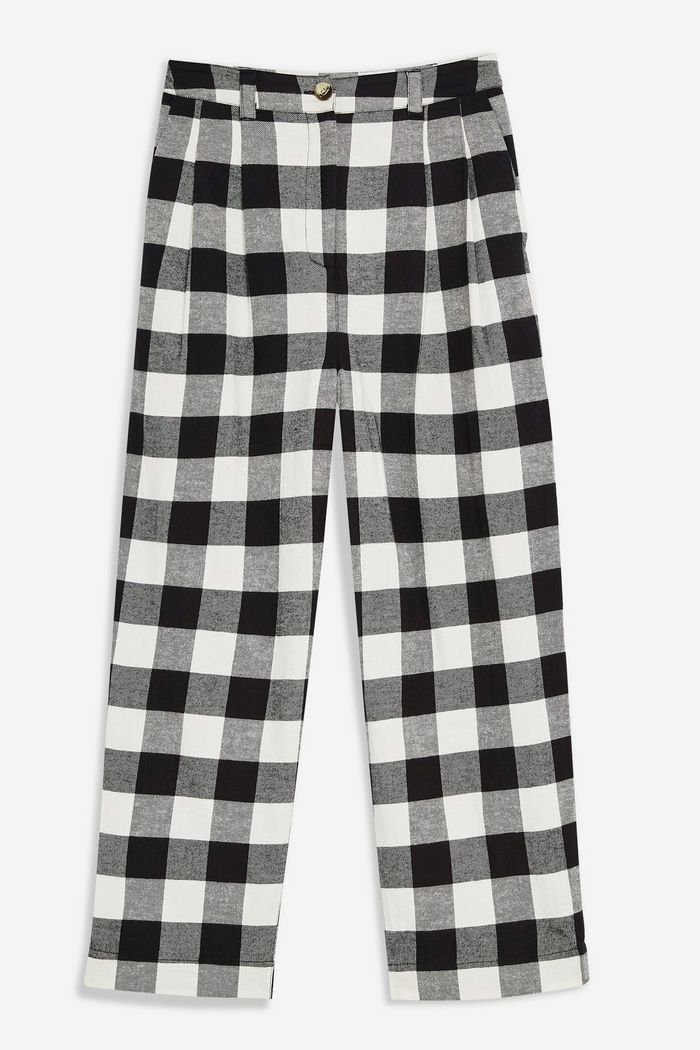 Black and White Gingham Tapered Trousers | Topshop