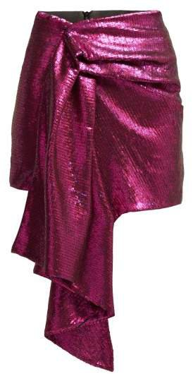 Halpern - Draped Sequinned Mini Skirt - Womens - Pink